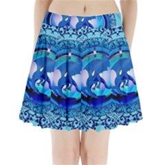 The Blue Dragpn On A Round Button With Floral Elements Pleated Mini Skirt