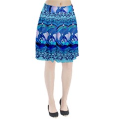 The Blue Dragpn On A Round Button With Floral Elements Pleated Skirt