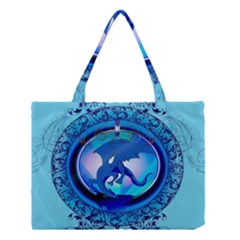 The Blue Dragpn On A Round Button With Floral Elements Medium Tote Bag