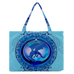The Blue Dragpn On A Round Button With Floral Elements Medium Zipper Tote Bag