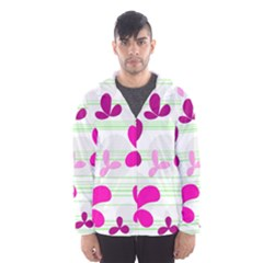 Magenta floral pattern Hooded Wind Breaker (Men)