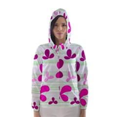 Magenta floral pattern Hooded Wind Breaker (Women)