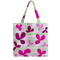 Magenta floral pattern Zipper Grocery Tote Bag