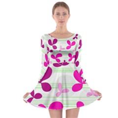 Magenta floral pattern Long Sleeve Skater Dress