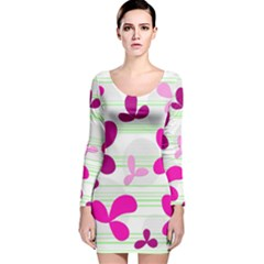 Magenta floral pattern Long Sleeve Velvet Bodycon Dress