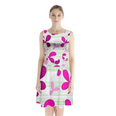 Magenta floral pattern Sleeveless Chiffon Waist Tie Dress