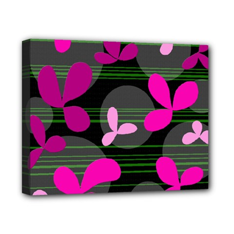 Magenta floral design Canvas 10  x 8