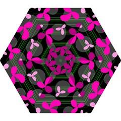 Magenta floral design Mini Folding Umbrellas