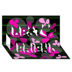 Magenta floral design Best Friends 3D Greeting Card (8x4)