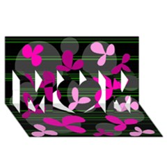 Magenta floral design MOM 3D Greeting Card (8x4)