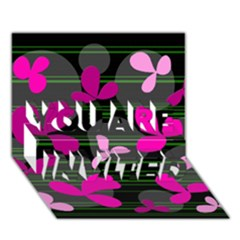 Magenta floral design YOU ARE INVITED 3D Greeting Card (7x5)