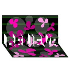 Magenta floral design BELIEVE 3D Greeting Card (8x4)