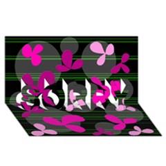 Magenta floral design SORRY 3D Greeting Card (8x4)