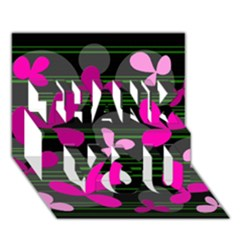Magenta floral design THANK YOU 3D Greeting Card (7x5)