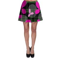 Magenta floral design Skater Skirt