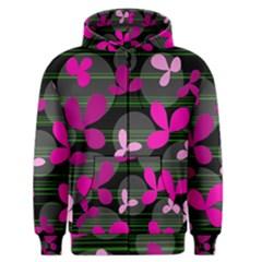 Magenta floral design Men s Zipper Hoodie