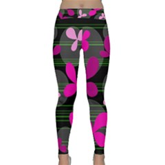 Magenta floral design Yoga Leggings