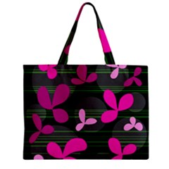 Magenta floral design Zipper Mini Tote Bag