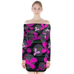 Magenta floral design Long Sleeve Off Shoulder Dress