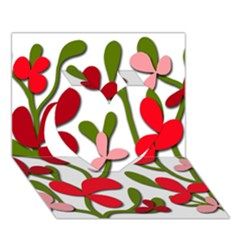 Floral tree Heart 3D Greeting Card (7x5)