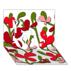 Floral tree LOVE 3D Greeting Card (7x5)