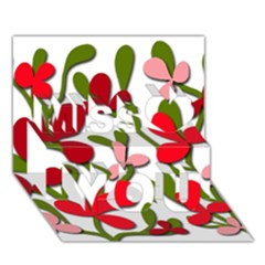 Floral tree Miss You 3D Greeting Card (7x5)