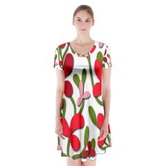 Floral tree Short Sleeve V-neck Flare Dress