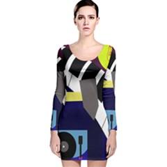 Hard Long Sleeve Velvet Bodycon Dress