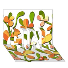 Decorative floral tree GIRL 3D Greeting Card (7x5)