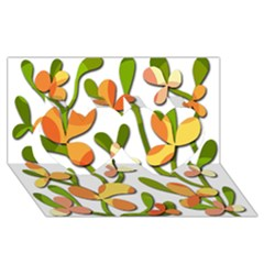 Decorative floral tree Twin Hearts 3D Greeting Card (8x4)