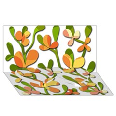 Decorative floral tree Twin Heart Bottom 3D Greeting Card (8x4)