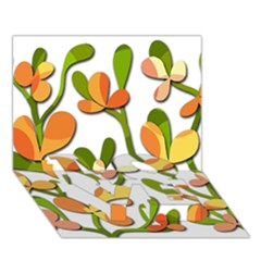 Decorative floral tree LOVE Bottom 3D Greeting Card (7x5)