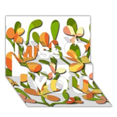 Decorative floral tree Miss You 3D Greeting Card (7x5)