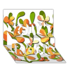 Decorative floral tree You Rock 3D Greeting Card (7x5)
