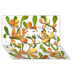 Decorative floral tree Merry Xmas 3D Greeting Card (8x4)