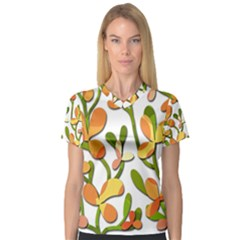 Decorative floral tree Women s V-Neck Sport Mesh Tee