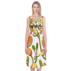 Decorative floral tree Midi Sleeveless Dress