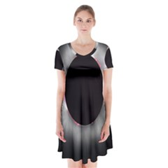 Solar Eclipse Short Sleeve V-neck Flare Dress