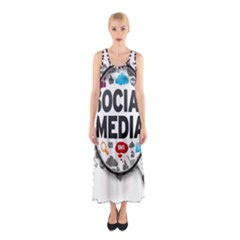 Social Media Computer Internet Typography Text Poster Sleeveless Maxi Dress