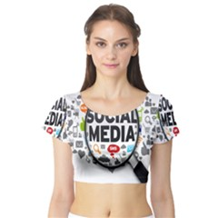 Social Media Computer Internet Typography Text Poster Short Sleeve Crop Top (Tight Fit)