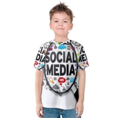 Social Media Computer Internet Typography Text Poster Kids  Cotton Tee