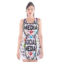 Social Media Computer Internet Typography Text Poster Scoop Neck Skater Dress