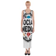 Social Media Computer Internet Typography Text Poster Fitted Maxi Dress