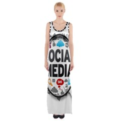 Social Media Computer Internet Typography Text Poster Maxi Thigh Split Dress