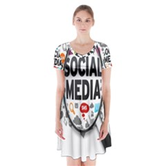 Social Media Computer Internet Typography Text Poster Short Sleeve V-neck Flare Dress