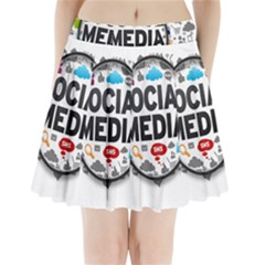 Social Media Computer Internet Typography Text Poster Pleated Mini Skirt