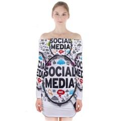 Social Media Computer Internet Typography Text Poster Long Sleeve Off Shoulder Dress