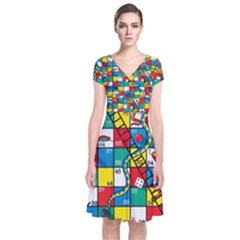 Snakes And Ladders Short Sleeve Front Wrap Dress