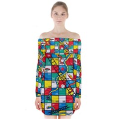 Snakes And Ladders Long Sleeve Off Shoulder Dress