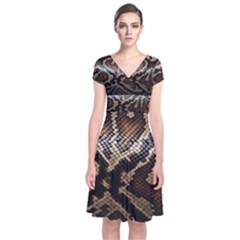 Snake Skin Olay Short Sleeve Front Wrap Dress